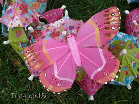 Met grote vlinders