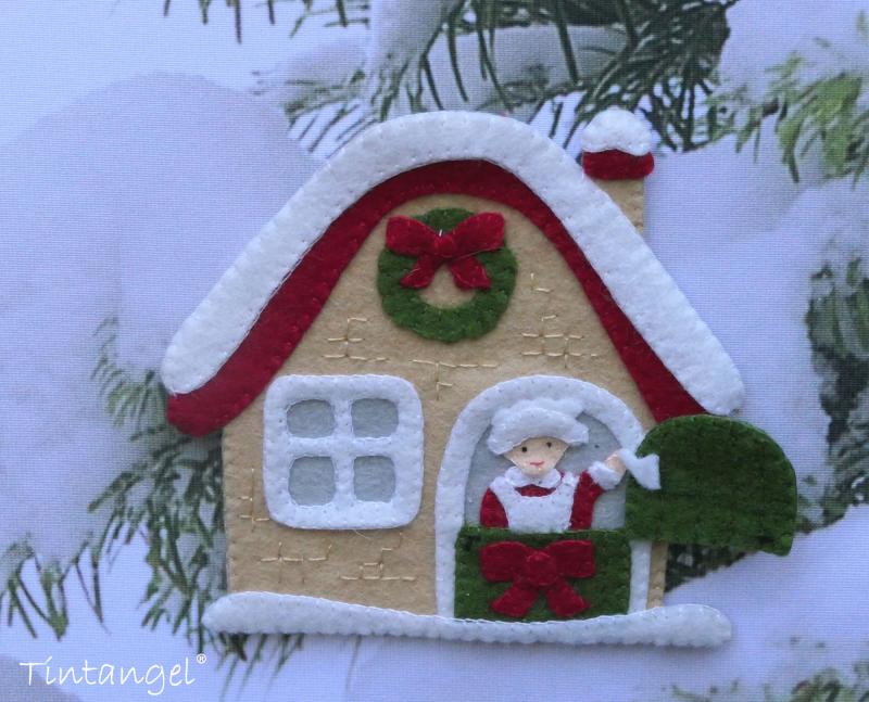 Kerstman huis op doek Etsy