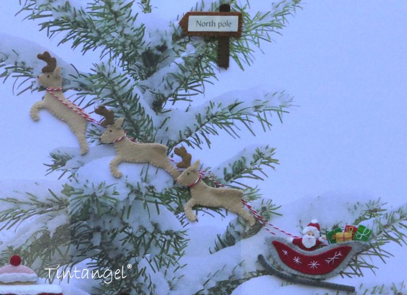 Santa met slee op doek met noordpoolbord Etsy